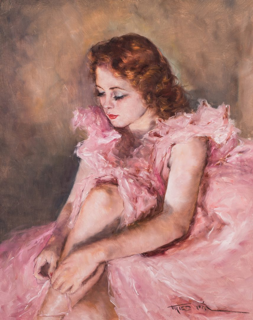 Lot 772: Pal Fried O/C, Dancer in Pink Dress