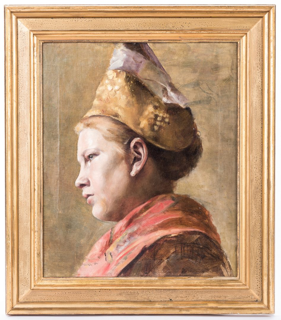 "Lot 773: Josef Buche, O/C, ""Costume Girl with Gold Hood"""