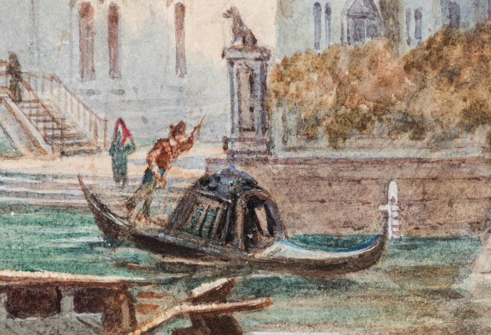Lot 77: Henry Pilleau Watercolor Venetian Canal Scene
