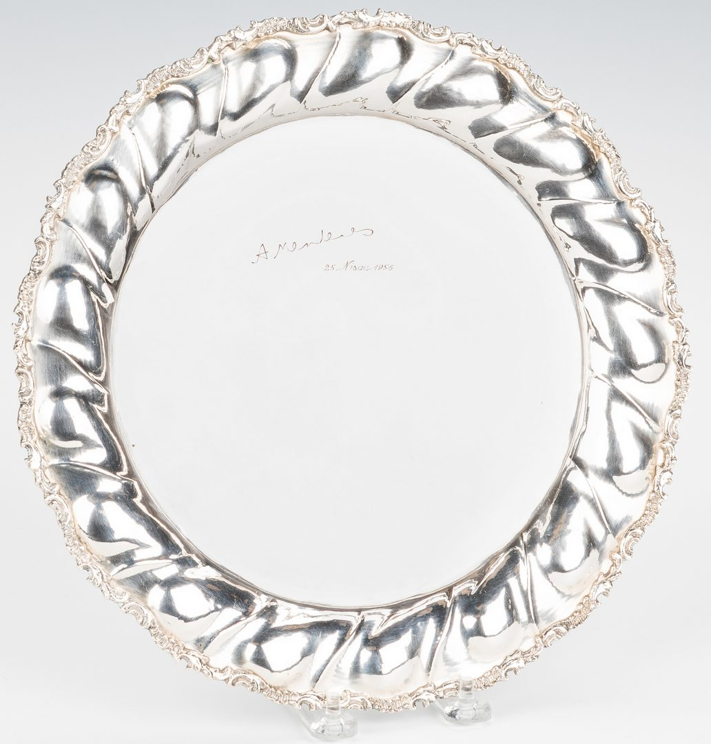 Lot 780: 4 Pcs, inc. 800 Silver Fluted Round Tray