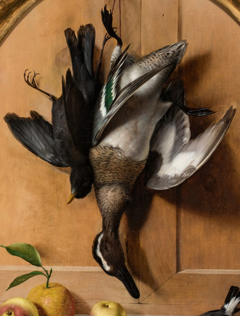 Lot 78: Oreste Costa, Oval Trompe L'Oeil Still life with goose and fruit