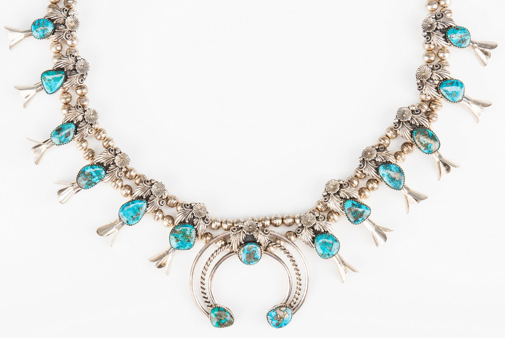 Lot 791: Navajo Squash Blossom Necklace signed