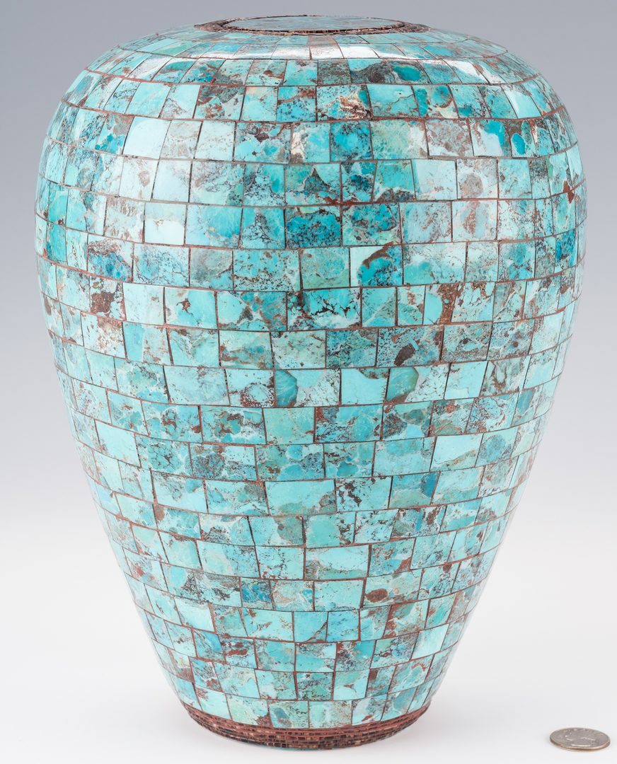 Lot 795: Randy Miller Cherokee Turquoise Inlaid Pottery Jar