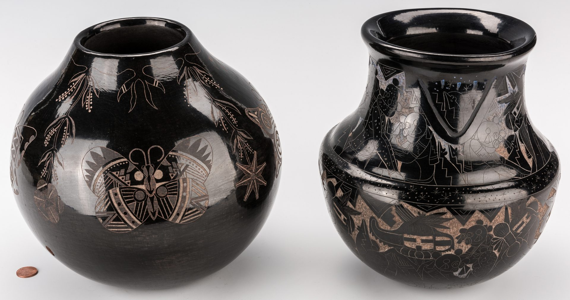 Lot 797: 2 Native American Blackware Jars, Dalawepi & Baca
