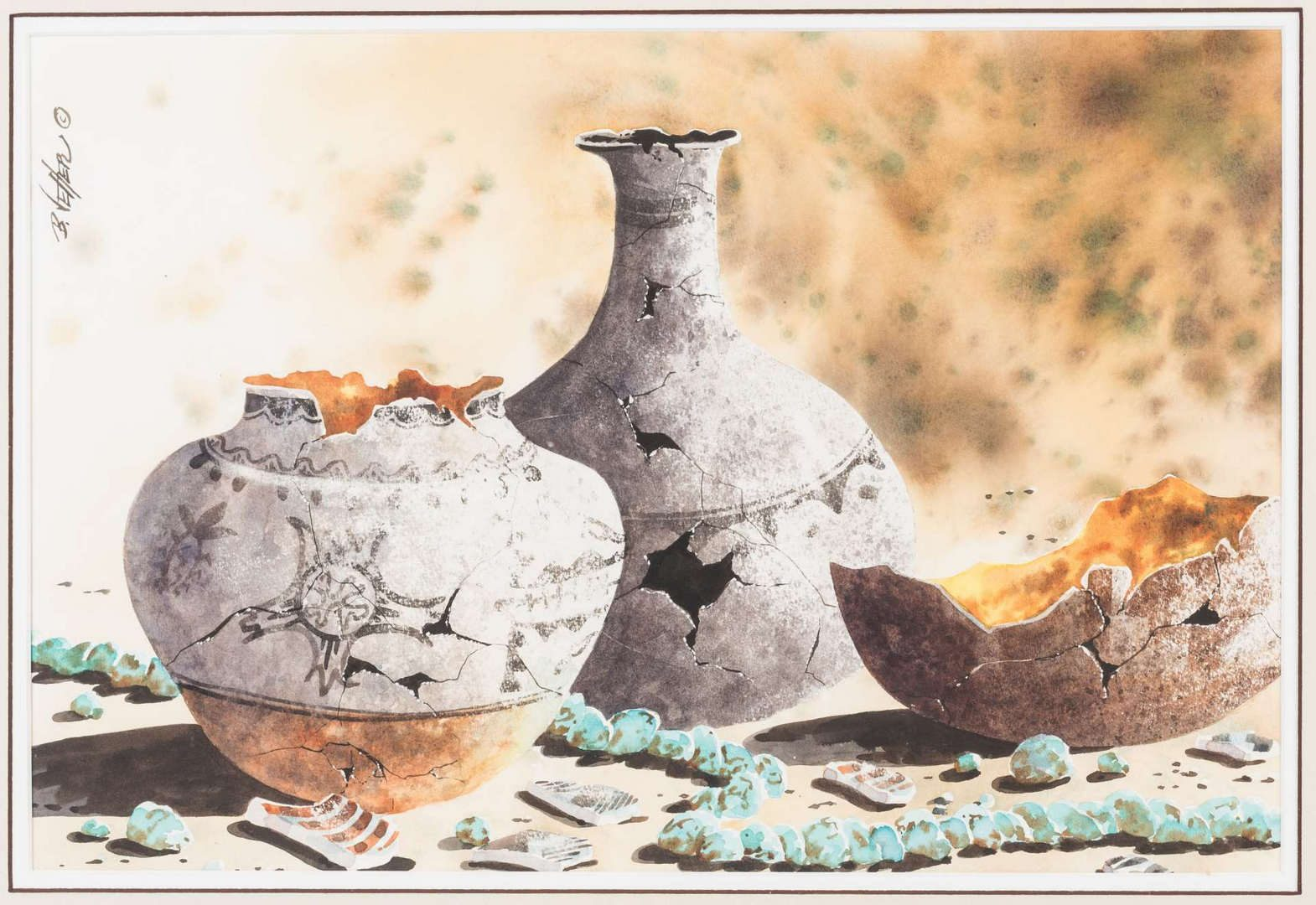 Lot 801: Bernard Vetter Watercolor, Indian Pottery & Turquoise