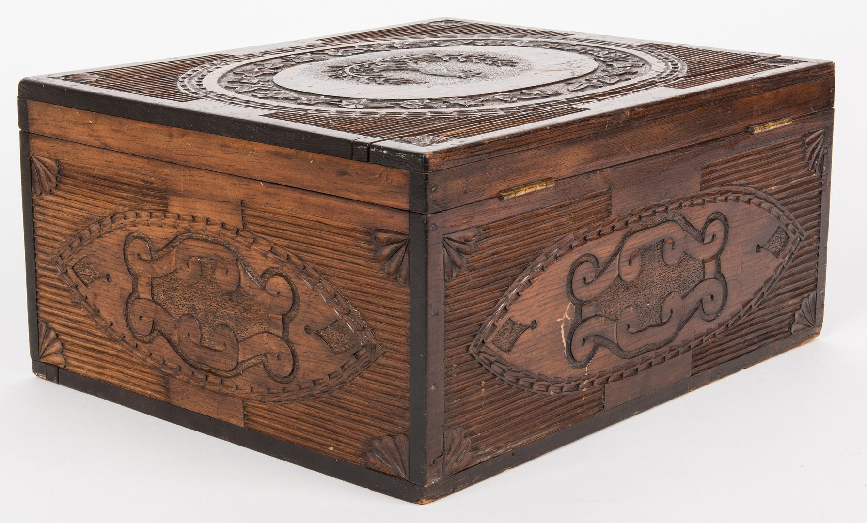 Lot 821: Folk Art Chip Carved Box on Stand