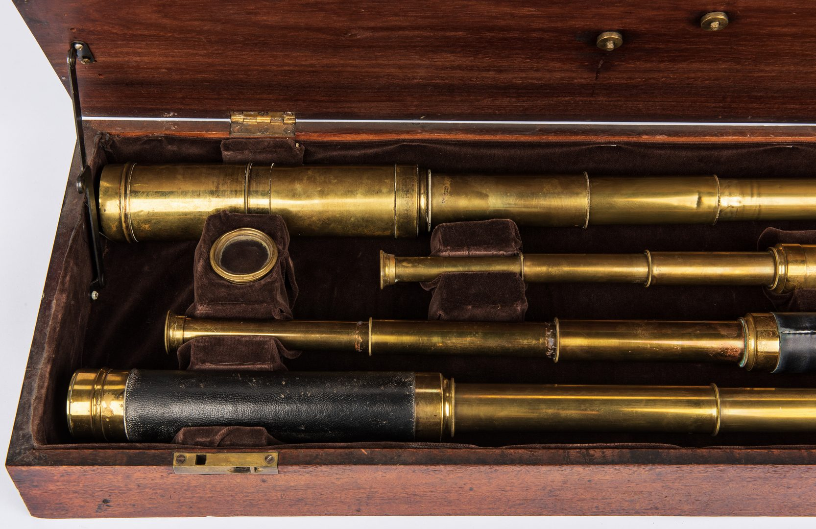 Lot 823: 4 19th c. Brass Ship Telescopes in Box