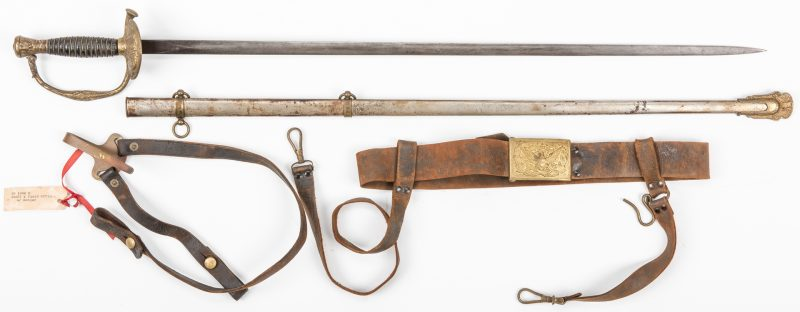 Lot 827: Civil War or Post Indian War Staff Sword, Belt Buckle, 2 items