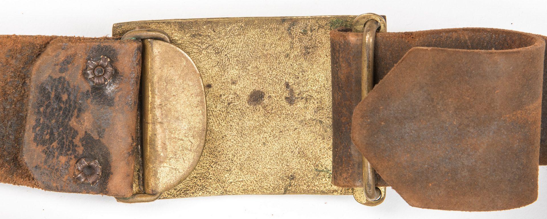 Lot 827: Civil War or Post Indian War Staff Sword, Belt Buckle, 2 items