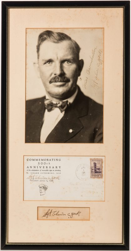 Lot 830: Alvin York framed autographs