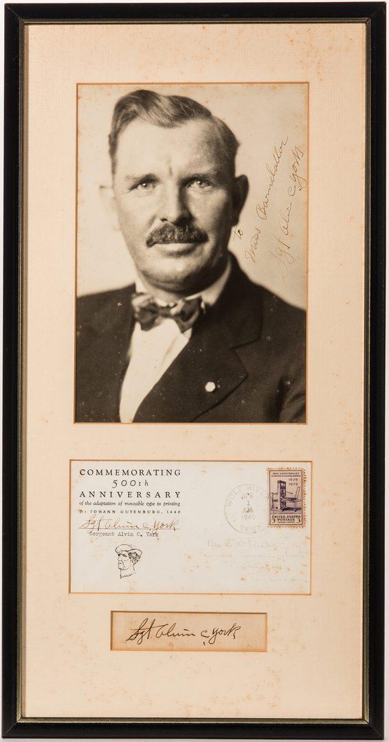 Lot 830: Alvin York framed autographs