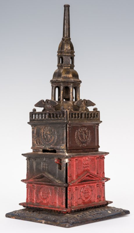 Lot 834: Independence Hall Centennial Cast Iron Bank