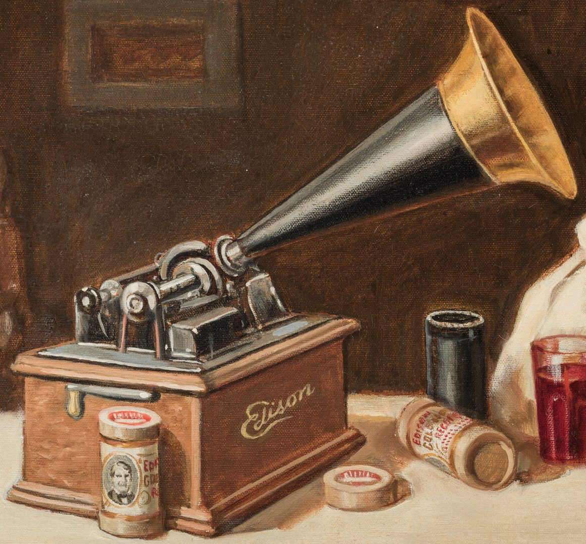 Lot 842: Oil on Canvas, Edison's Phonograph