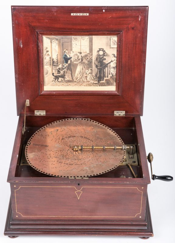 Lot 846: Regina Music Box w/ Currier & Ives Print