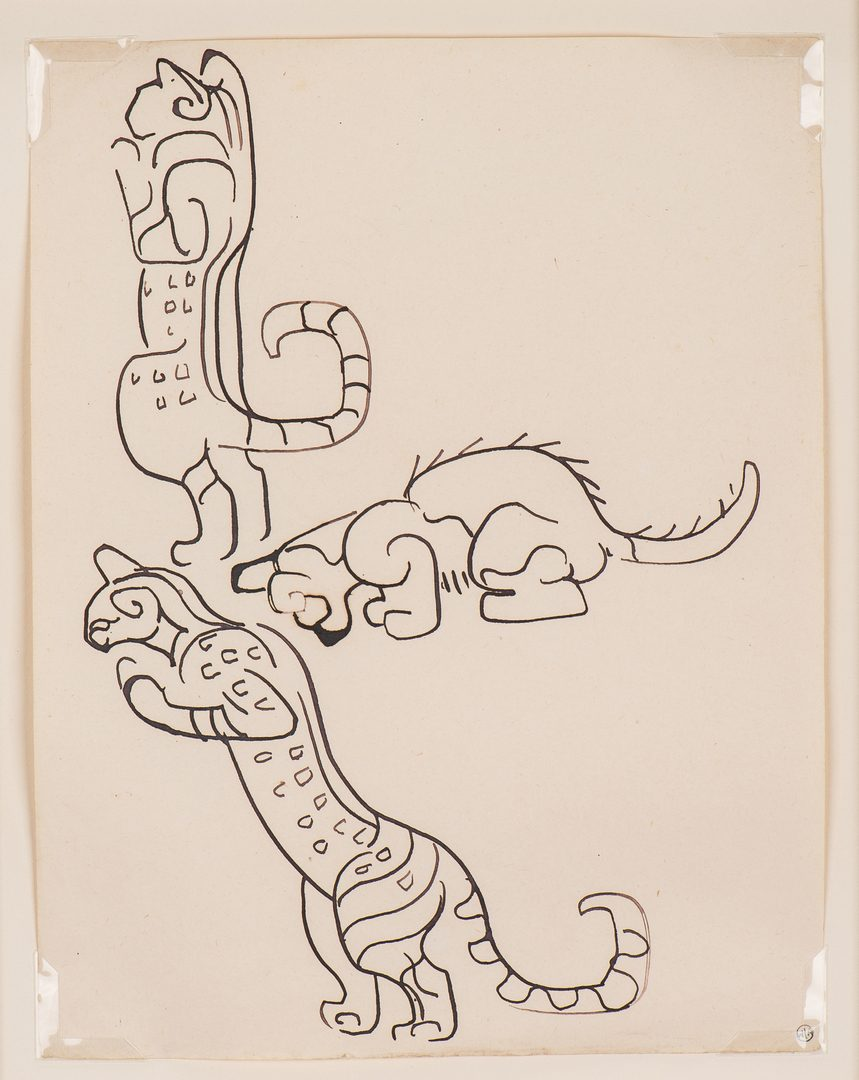 Lot 84: Walter Anderson Drawing, 3 cats, Estate stamp