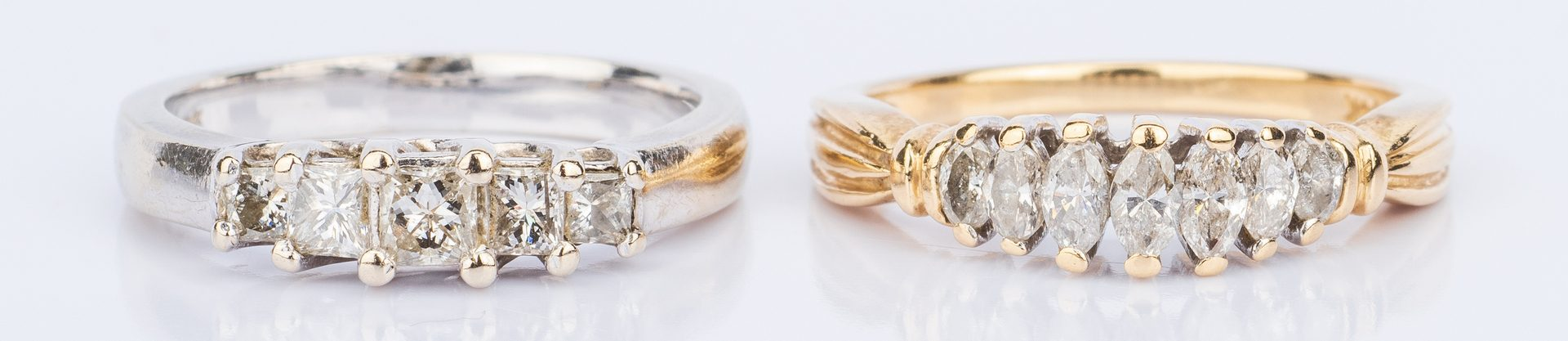 Lot 852: 2 Diamond Bands, Princess and Marquise Cut