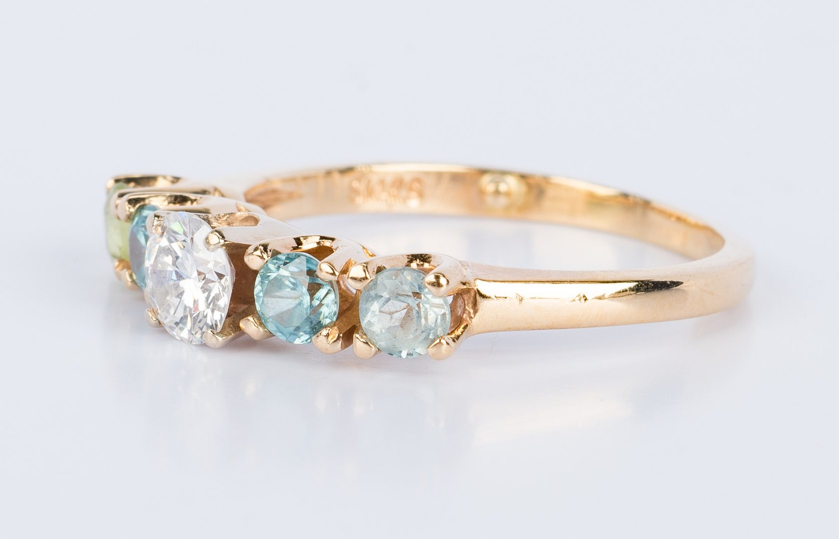 Lot 853: 14K 5-Stone Ring with .50 ct Diamond