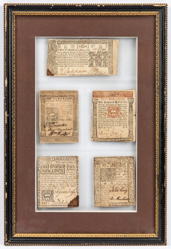 Lot 857: 5 Pcs. Framed  Colonial Currency