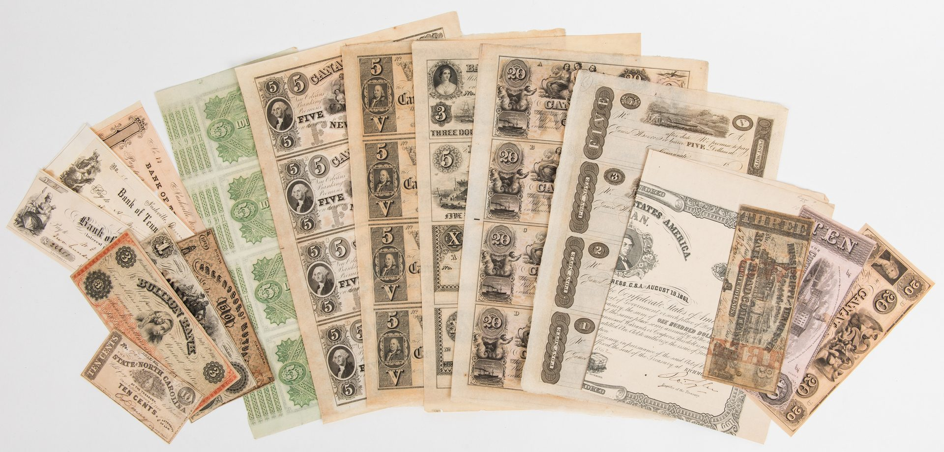 Lot 859: 17 American Currency Items, inc. uncut James Monroe Post Notes