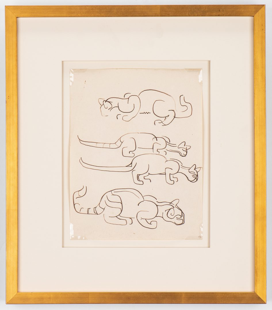 Lot 85: Walter Anderson Drawing, 4 cats, Estate stamp