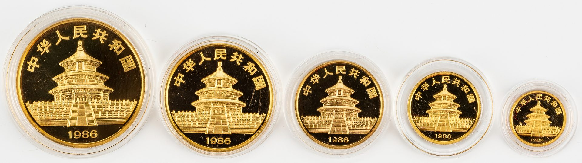 Lot 864: 1986 Chinese 5-Coin Gold Panda Proof Set