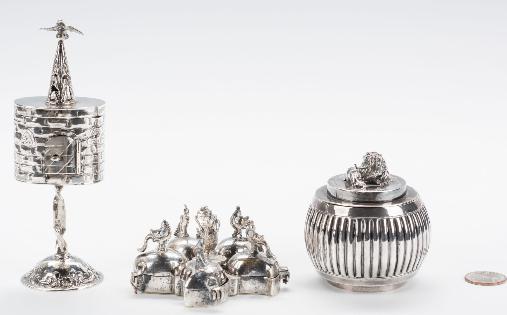 Lot 865: 3 pc. Chinese and Russian Silver inc. Spice Tower