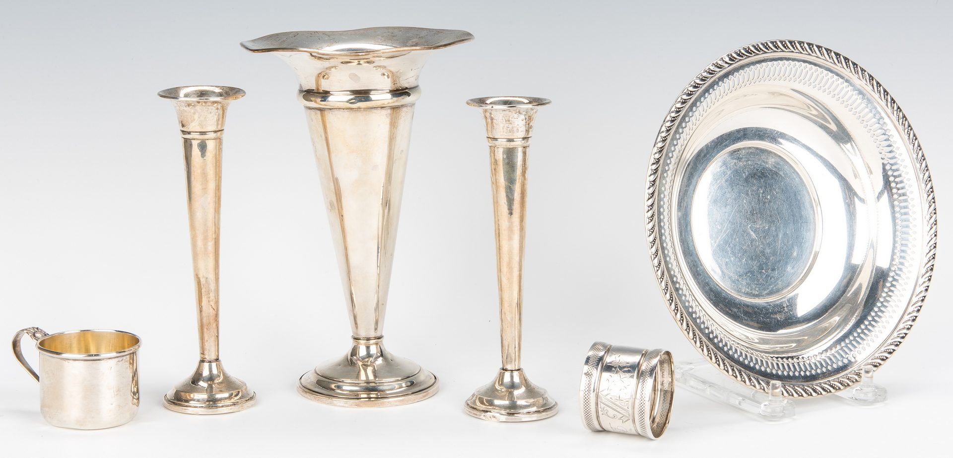 Lot 866: 30 pcs. sterling and coin silver inc. vase with overlay