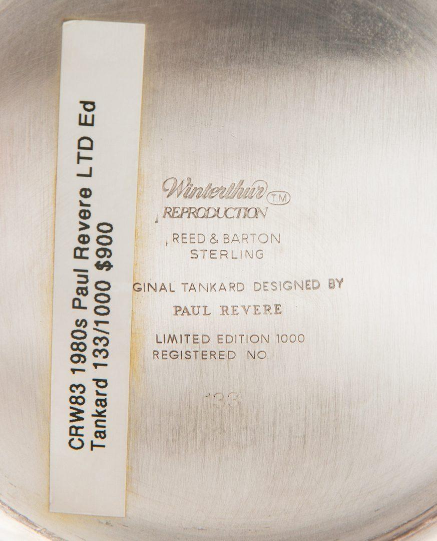 Lot 868: Winterthur Paul Revere Sterling Tankard