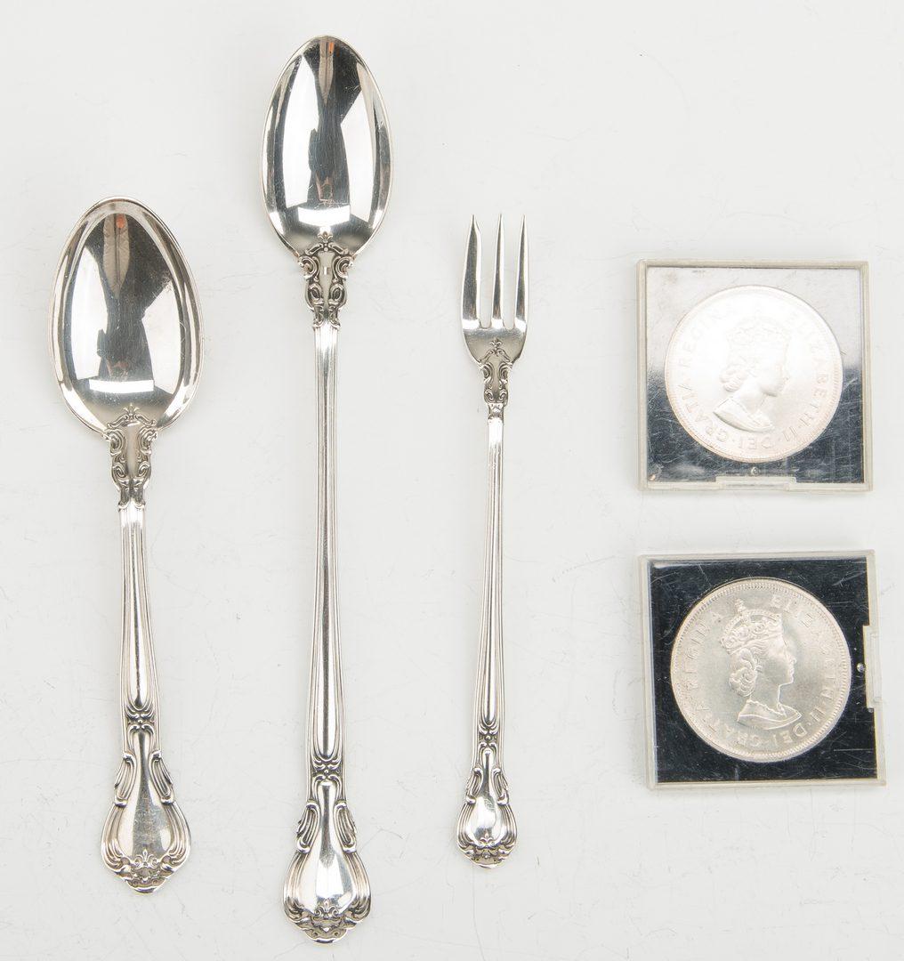 Lot 869: 24 Gorham Chantilly Sterling Flatware & 2 silver coins