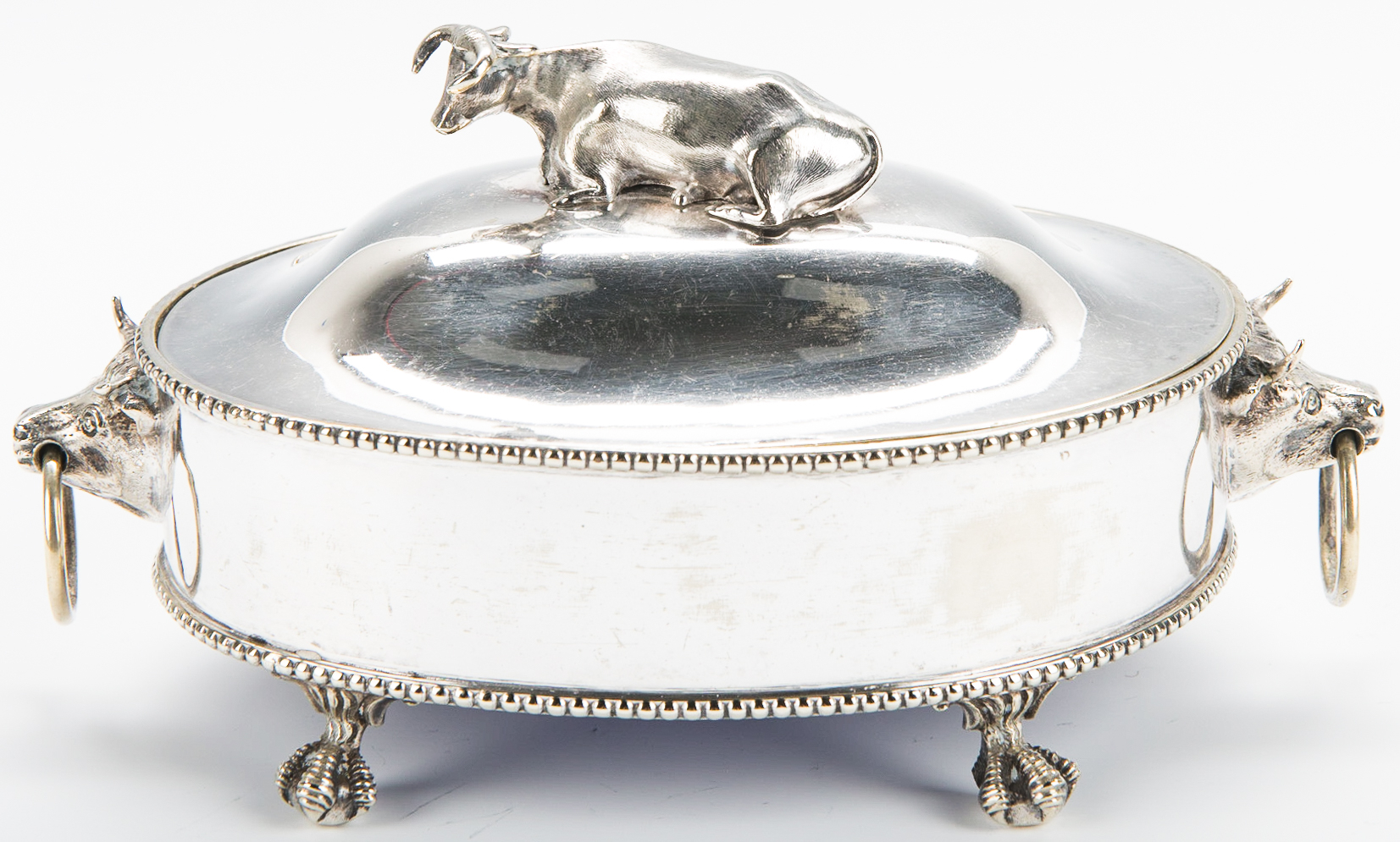 Lot 876: Figural Cow Butter Dish, Decanter and Jar