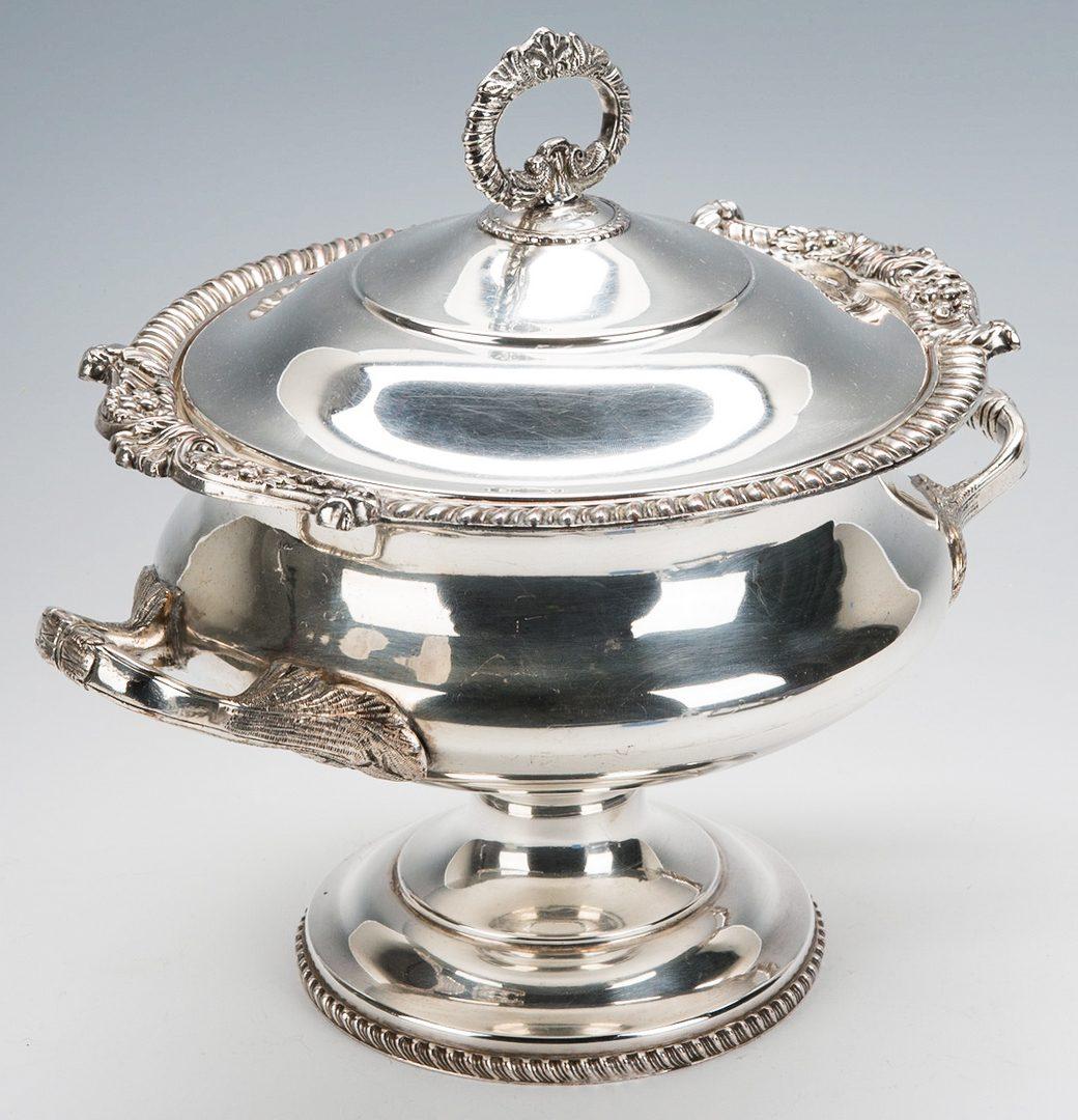 Lot 877: 4 items silverplate inc. Sardine Box