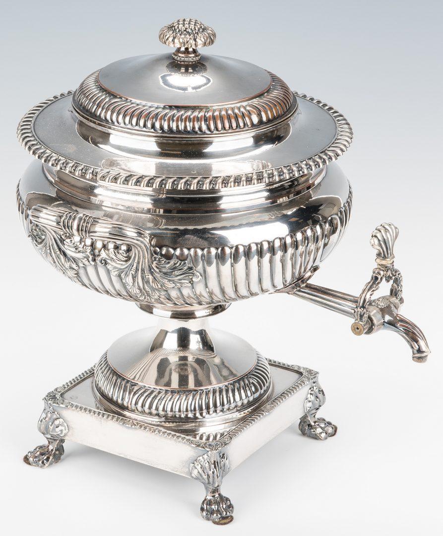 Lot 878: English Sheffield Plated Hot Water Urn