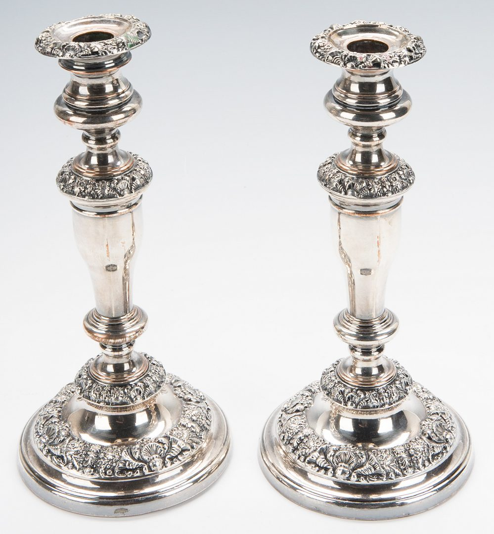 Lot 879: Group of Old Sheffield Plate Candlesticks and Lighting