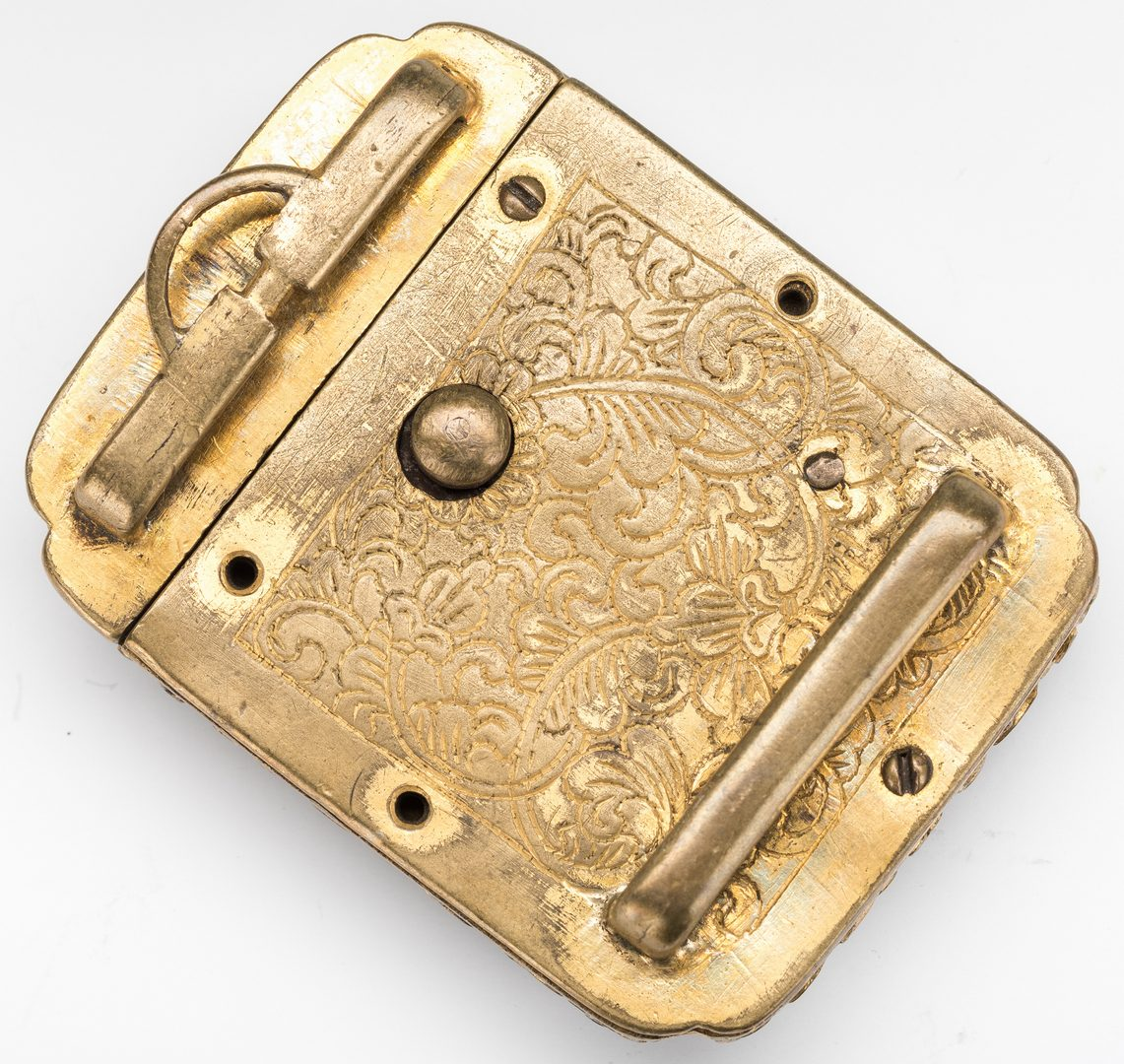 Lot 8: 3 Chinese Stone & Gilt Bronze Belt Buckles