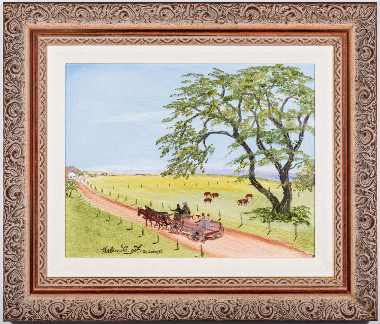 Lot 92: Helen LaFrance, O/C, Family in Mule Wagon