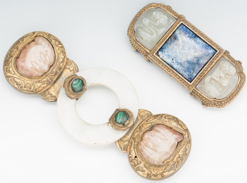 Lot 9: 2 Chinese Jade, Stone & Gilt Bronze Belt Buckles