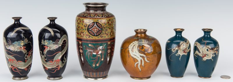 Lot 11: 6 Cloisonne Vases inc. Sato
