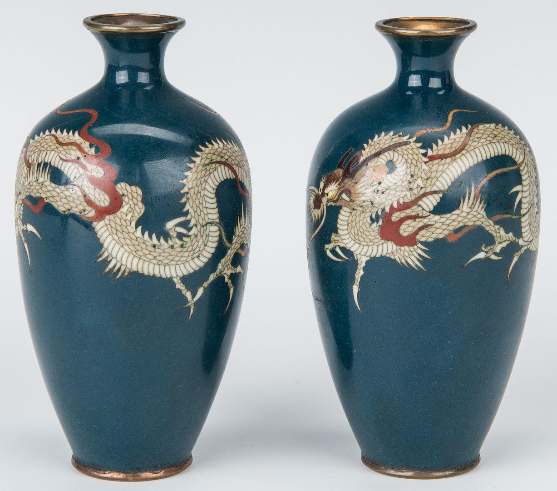 Lot 11: 6 Cloisonne Vases inc. Sato