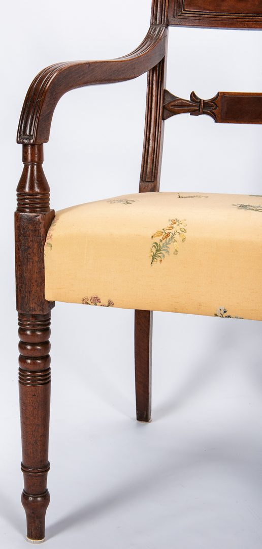 Lot 128: Pr. Regency Armchairs plus Candlestand
