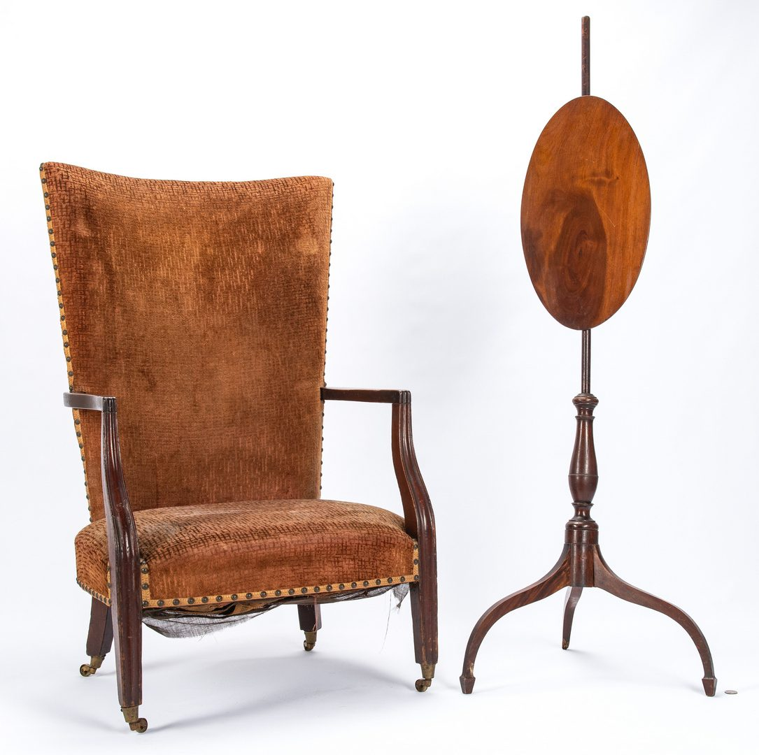 Lot 129: Federal Lolling Chair and Fire Screen, 2 items