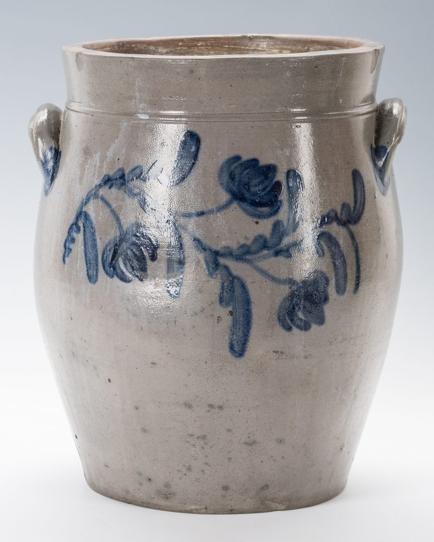 Lot 130: Middle TN Cherry Stand & Mid-Atlantic Cobalt Decorated Stoneware Jar