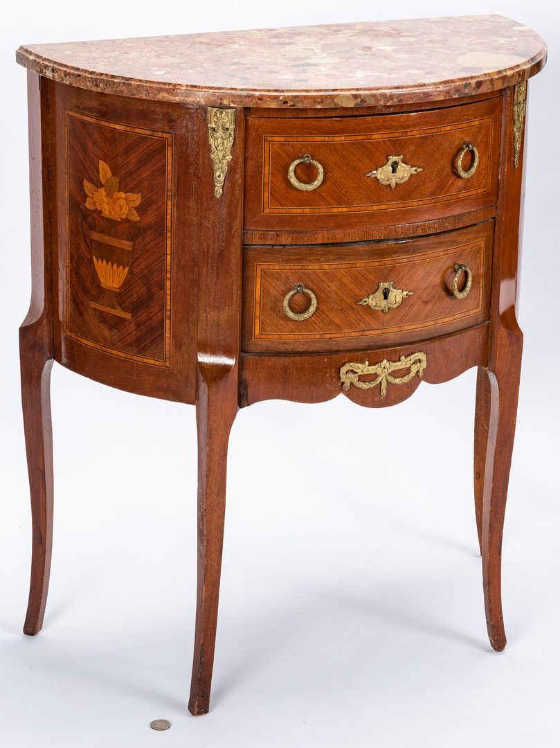 Lot 134: Pair Loius XV Style Demilunne Side Tables