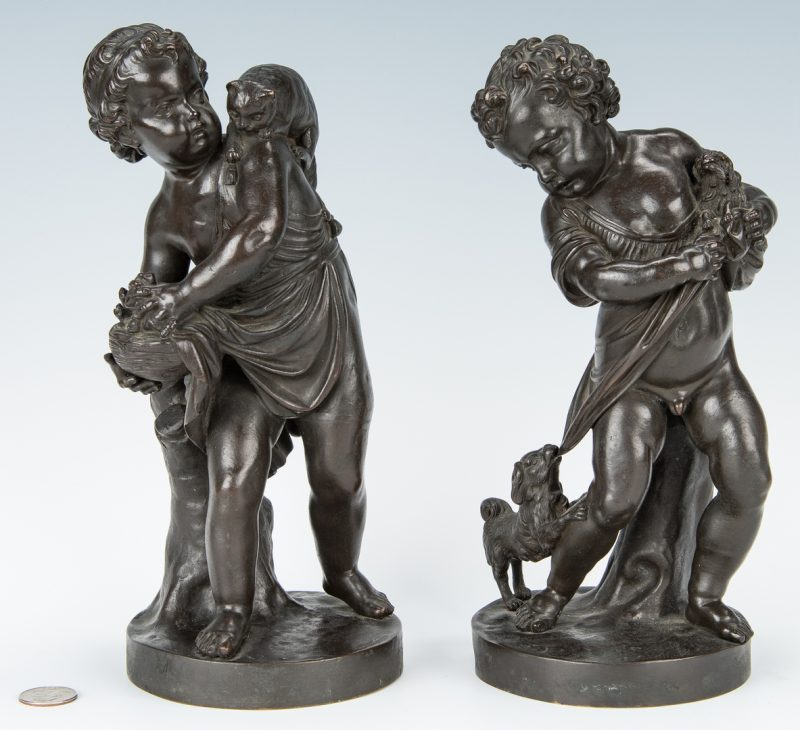 Lot 138: Pair French Bronze Putti Figurals