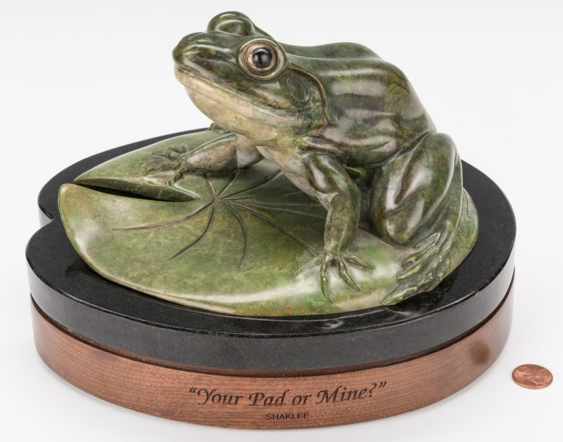 Lot 139: Kim Shaklee Bronze Frog Sculpture