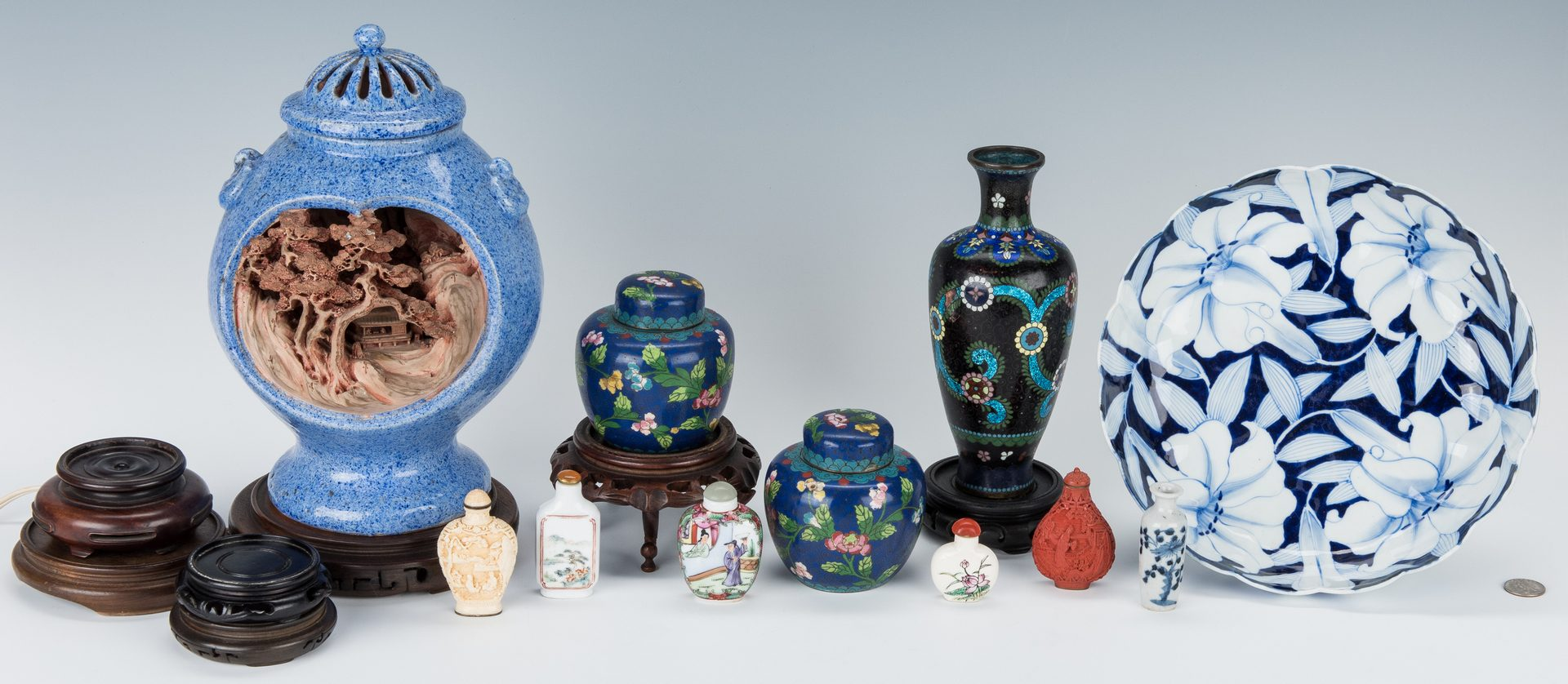 Lot 13: Group of 17 Assorted Asian Table Items