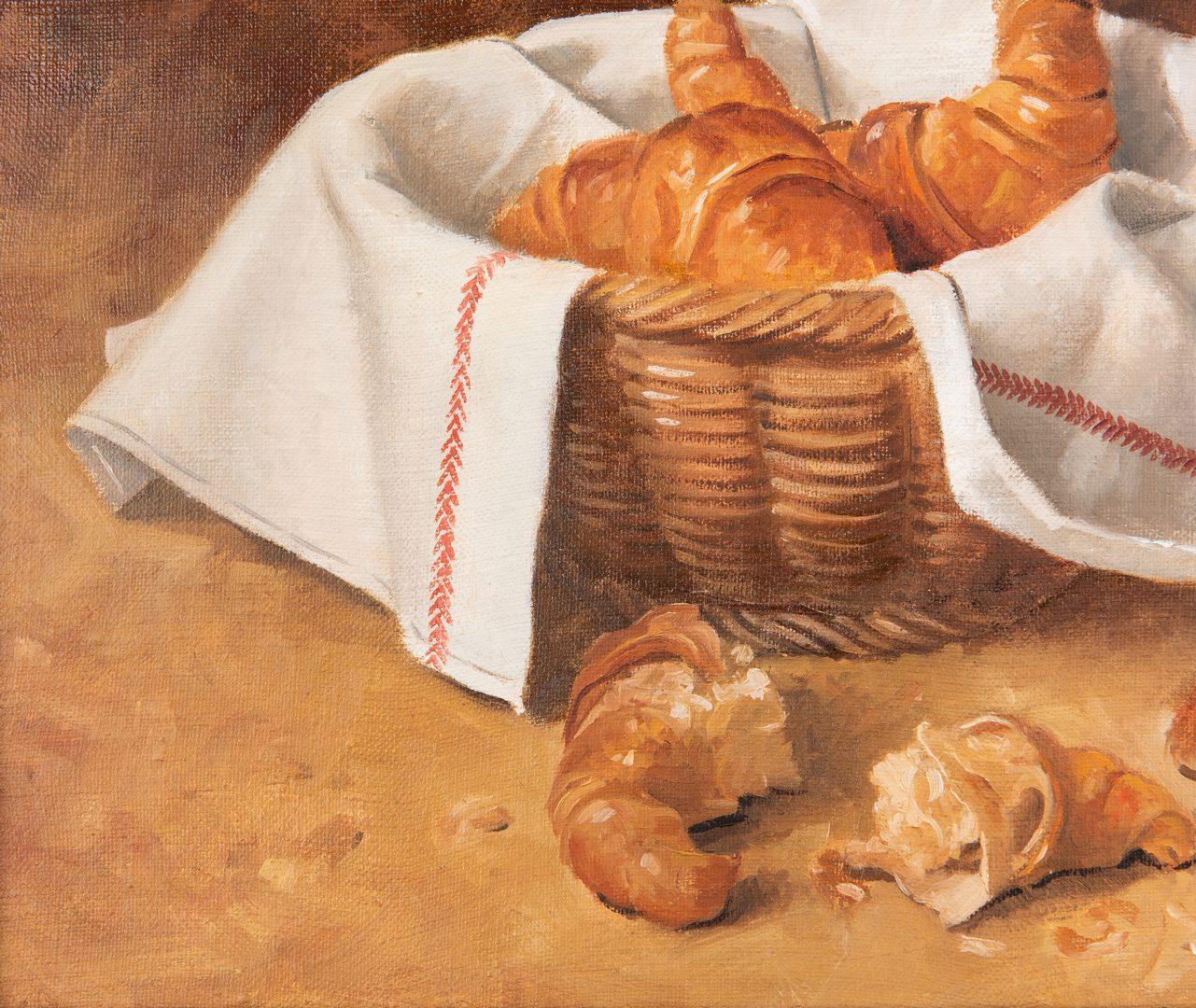 Lot 142: Robert Meredith O/C Croissants Still Life