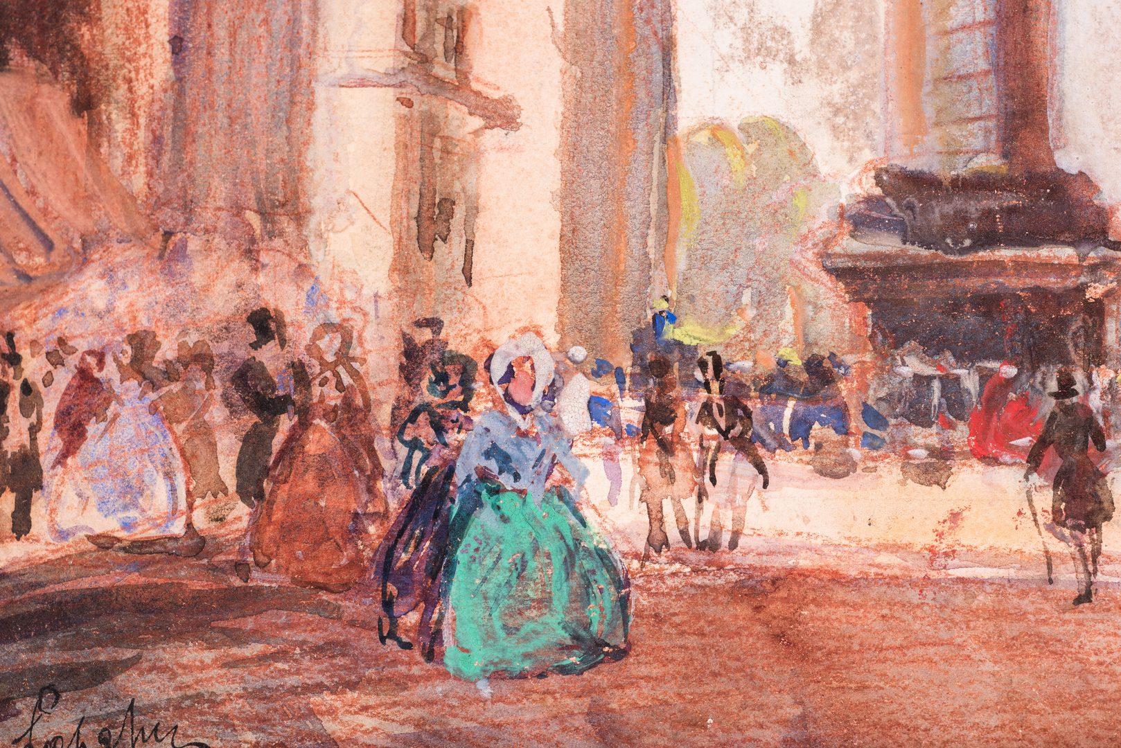 Lot 147: Frederick L. Hunter Landscape & Signed Paris Watercolor, 2 items