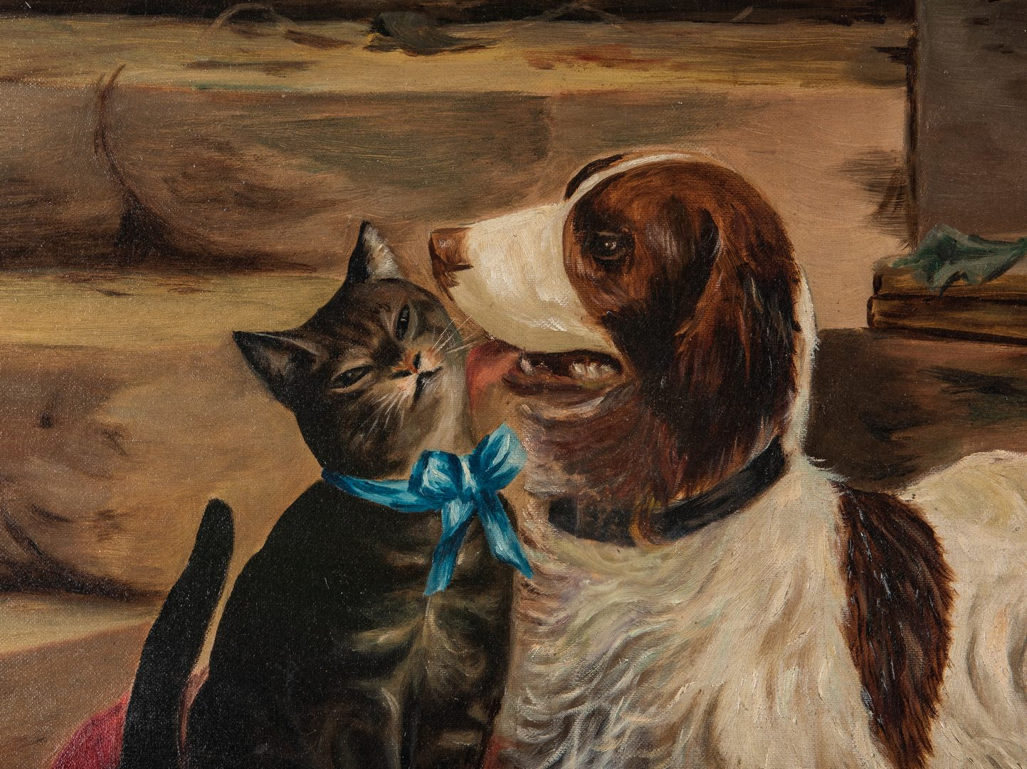 Lot 156: American School, O/C, Cat and Dog Painting