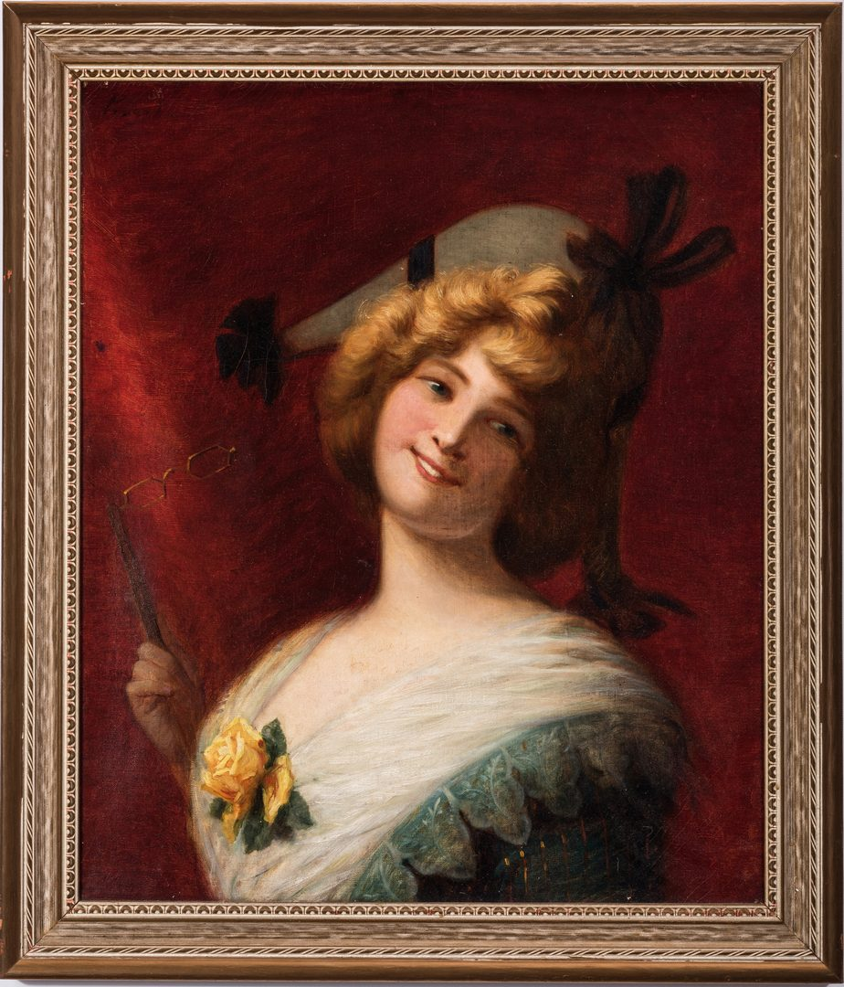 Lot 157: European O/C Painting of Young Woman
