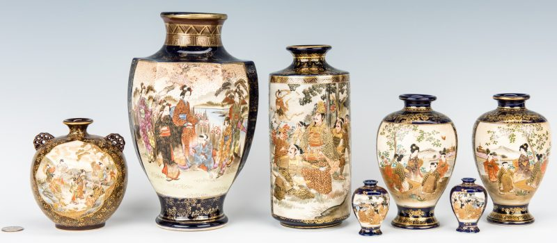 Lot 15: 7 Satsuma Vases with Cobalt, inc. Shimazu